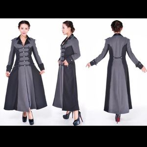 Jackets & Blazers - Silver Grey Goth Steampunk Trench Coat Size Small